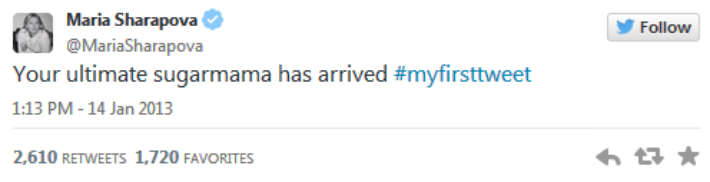 Первый твит Шараповой: «Сладкая мамочка»