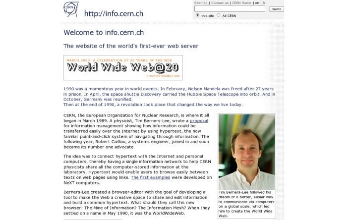 Первый сайт. История создания первого интернет сайта
