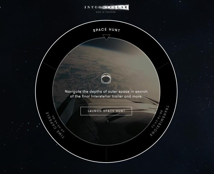 Интерактивный сайт Интерстеллар