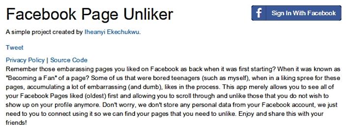 Facebook Unliker. Как убрать лайки