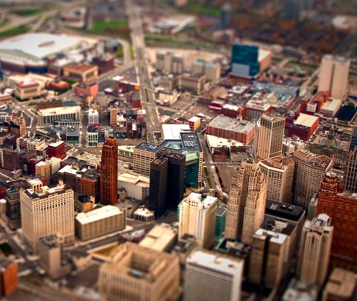 Фото как игрушечное: Детройт с эффектом Tilt-Shift